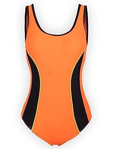 Aidonger Damen Verbindung Farben Badeanzug Knalliger Farbe Wettkampfanzug 1 Piece EU36-EU50 (Retro Frauen-badeanzug)