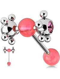 Piercing langue roulette coquine rose