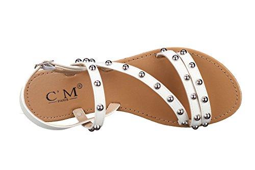 C M - Sandales Femme 839-720 White Blanc