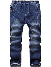YoungSoul Vaqueros para niño - Jeans ajustados con roturas cosidas - Pantalones vaqueros con cintura elástica
