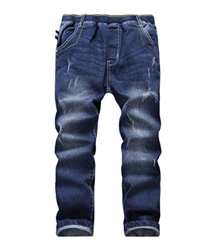 YoungSoul Jungen Jeanshosen - Jeans mit Abschürfungen - Kinder Hose mit elastischem Bund Regular Fit 122-128