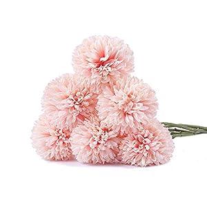 Flores artificiales Ruiuzi, flores artificiales de seda, 6 cabezas de hortensia artificial, ramo de boda para el hogar, jardín, fiesta, boda, decoración, 6 unidades, beige, talla única