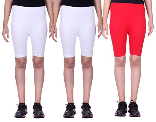 Belmarsh Stretchable Cycling Shorts - Pack of 3 (WHT_WHT_RED_28)