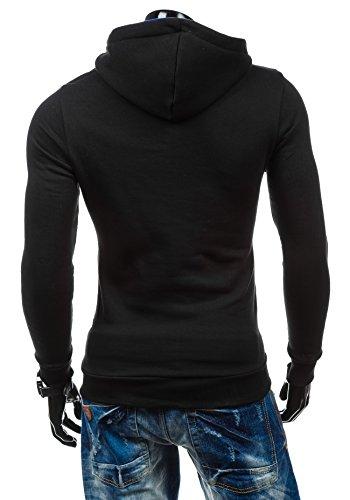 BOLF – Sweat-shirt à capuche – Boutons – STX MARIO – Homme Noir-Cobalt