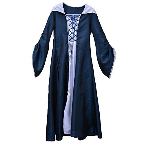 Zoelibat 97221441.059l-bodenlanges Mujer Vestido con Capucha Cuello y Pecho Cordones, tamaño L, Color Azul Oscuro/Blanco