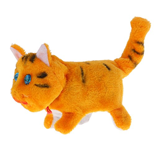 MagiDeal Plüsch Figuren Tier Modell Kätzchen Katze elektronisches Haustier Kinder Batterien Spielzeug - Gelb