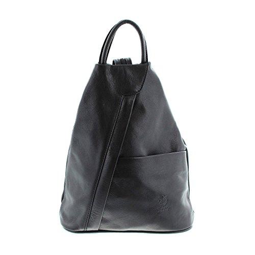 IO.IO.MIO leichter echt Leder Damenrucksack CityRucksack DayPack schwarz , 27-18x30x13 cm (B x H x T)