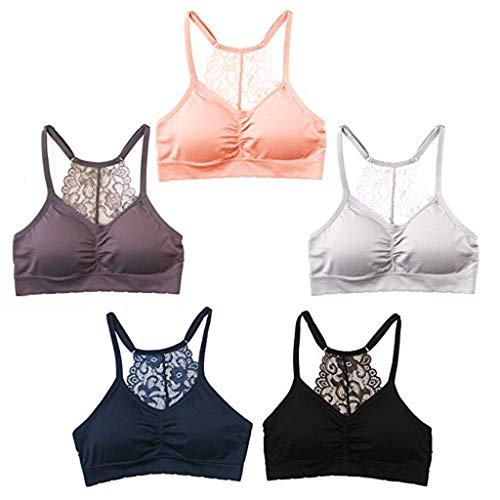 erament Sommer Damen Pyjamas, 5 Sätze von nahtlosen elastischen Spitzen-BH der Frauen gepolsterte Fitness Weste Top Trainingsweste ()