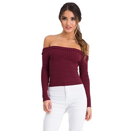 OVERDOSE Damen Ärmel Kurzarm Top Enge Sweater Knitting Beiläufiges Trägerloses T-Shirt (S, Rot) (Sleeve Sweater Long Lace)