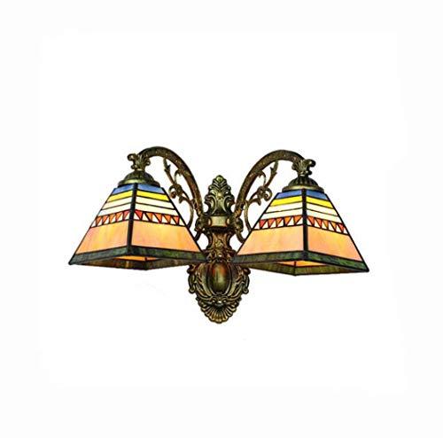 YDYG Tiffany-Stil Wandleuchten Mittelmeer Glasmalerei Doppelkopf Wandleuchte Spiegel Lichter Wohnzimmer Schlafzimmer Korridor Nachtlicht, E27,40W,a -