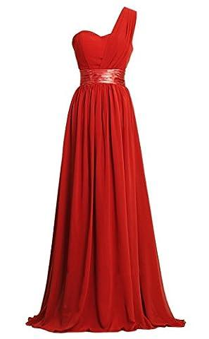Honeystore Damen's A-Linie/Princess-Linie Eine Schulter Bodenlang Chiffon Brautjungfernkleid Abendkleid mit Rüschen Rot (Kostüm Farbige Kontakte Günstige)