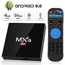Android 9.0 TV Box BT4.1 [4GB RAM+64GB ROM] Boîtier TV 3D+4K [2019 Dernière Version] USB3.0 SUPERPOW Android 9.0 Smart TV, avec HD/H.265 / 4K / 3D / BT4.1