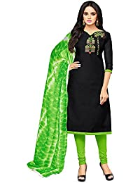 Applecreation Women's Cotton Chanderi Salwar Suits Material (Black_Salwar Suit_21DMK625_Free Size)