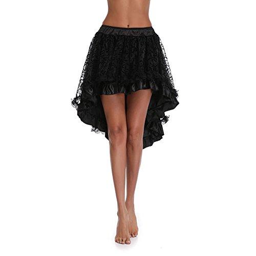 FeelinGirl Mujer Conjunto de Corsé Gótico Fiesta Bustier con Falda Dos Piezas Carnaval Negro M