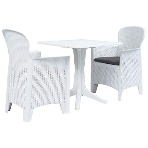 Festnight 3-TLG. Bistro-Set | Kunststoff Balkon-Set | Plastik Terassen Set | Balkongarnitur | Gartenmöbel Set | Weiß Kunststoff 70 x 70 x 71,7/59 x 57 x 89 cm