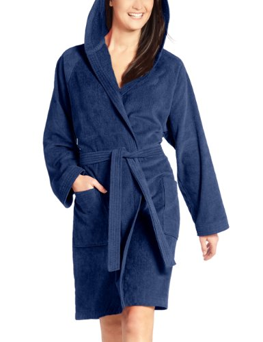 Vossen Damen Bademantel Texas, Einfarbig, Gr. 38 (S), Blau (winternight)