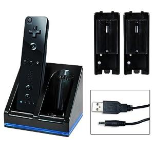 Lioncast Duo Ladestation mit 2 Akkus für Nintendo Wii und Wii U Remote schwarz