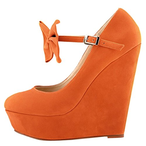 Azbro Fashion Candy Color Bow Platform Ankle Strap Wedge Heels Orange