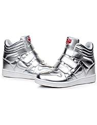 PAMRAY Zapatillas de Cuña Interior Mujer Clásico Deportivos Zapatos Elevador Talón Plataforma 7 CM Blanco Negro Plata