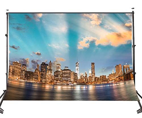GzHQ 10 x 7 FT Polyester New York Manhattan City Nachtsicht Kulisse Wasser Blauer Himmel Fotografie Hintergrund Studio Requisiten Zimmer Wandbild 107-24