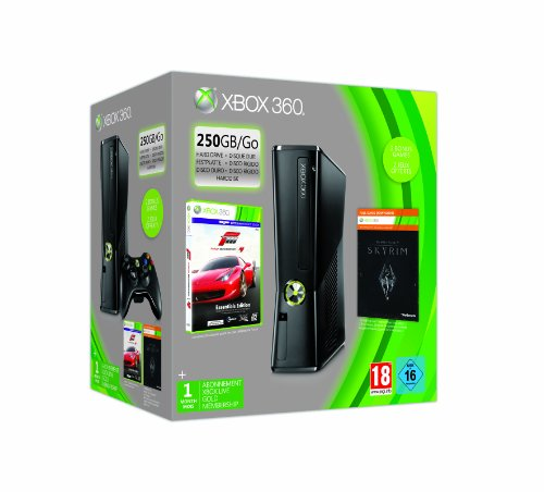 Microsoft - CONSOLA XBOX 360 250GB + FORZA4 + SKYRIM + 1 MES XBOX LIVE GOLD (Live Gold Xbox)