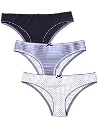 Iris & Lilly Brasilian Slip Damen Muster Schleife 3er-Pack