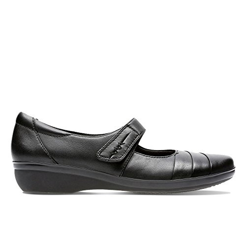 Clarks Women's Velcro Mary Janes Wedge Shoes Everlay Kennon Black Leather