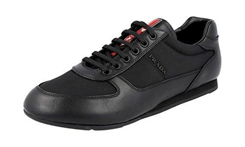 Prada Herren Sneakerschuhe, Leder, knöchelhoch, Schwarz, Schwarz (schwarz), (45 EU) - Prada Schwarz Leder