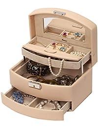 IsmatDecor – Elegante Joyero para Mujer – Caja para joyas de 2 niveles – Con Espejo y cierre con llave - Estuche de viaje incluido – Acabado en Cuero sintético