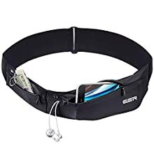 ESR Running Belt Adjustable Stretchy Zippered Fanny Pack with Headphone Port Compatible for iPhone Xs/Xs Max/XR/X/8/7/6s Plus, Samsung S9/S8/S7/S14 Edge