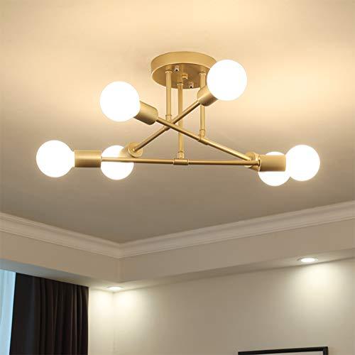 Deckenleuchte LED Schlafzimmerlampe Deckenlampe Kreative Modern Landhaus Stil 6-flammig Eisen Kronleuchter E27 Lampenfassung für Innen Wohnzimmerlampe Kinderzimmer Esszimmer Küche Flur Deko (Gold)