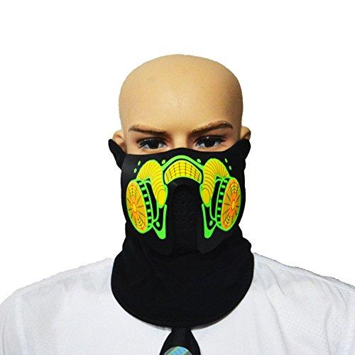 g Gesichtsmaske Party Masken-Voice & Sound-Aktiviert, Atmungsaktiv, Leichtgewicht - Perfekt für Halloween, Partys, Raves, Musikfestivals, Reiten & Snowboarden (A5) ()