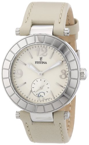 Festina Women's Quartz Watch with Beige Dial Analogue Display and Beige Leather Strap F16619/2