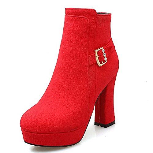 VogueZone009 Damen Niedrig-Spitze Reißverschluss Mittler Absatz Quadratisch Zehe Stiefel, Rot, 36