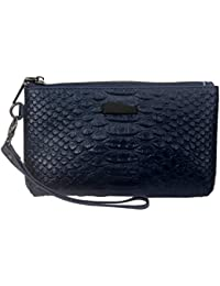 Senzeal Unisex Crocodile Pattern Leather Clutch Handbag For Women And Men Wallet Purse With Shoulder Strap Dark...