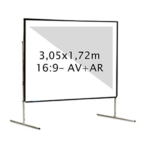 Kimex 046–3016K Projektionsleinwand, Koffer 3,05x 1,72m, Format 16/9, Projektion vorne + hinten