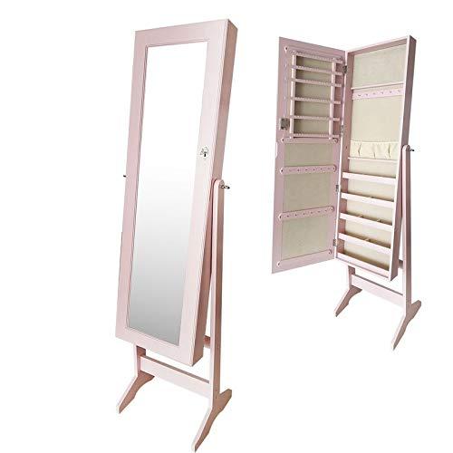 VidalRegalos Armario Joyero Espejo Vestidor Madera Rosa 160 cm