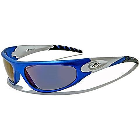 Occhiali da sole X-Loop - Sport - Ciclismo - Sci - Driving - Moto - Arrampicata / Mod. 2610 Blu / Un formato adulto / 100% Protezione UV-400