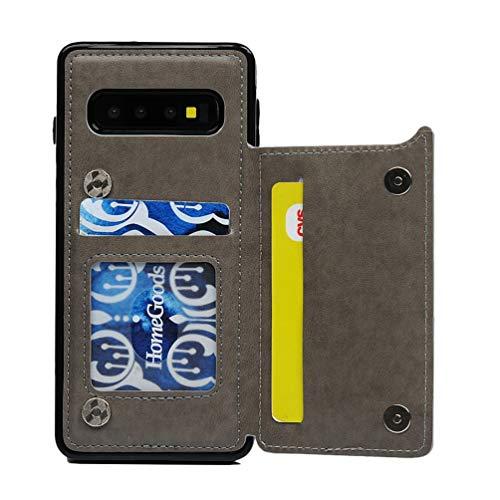 Promixc für Galaxy S10 Hülle, Premium Leder Flip Schutzhülle Case Schmetterling Blume Muster Ledertasche mit Standfunktion und Kartenfach Magnetic Brieftasche Handyhülle für Samsung Galaxy S10 - Grau Schutzhülle Flip Case