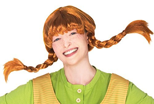 Maskworld Original Pippi Langstrumpf Perücke für Erwachsene - rote Haare mit 2 Zöpfen