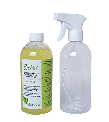 Biolopur - BioPet - Geruchsneutralisierer - Geruchsentferner - Spray - Reinigungsmittel Urin, Haustier etc.  500ml KONZENTRAT ergibt 5L Fertiglösung - Für Teppich-reiniger Katzenurin