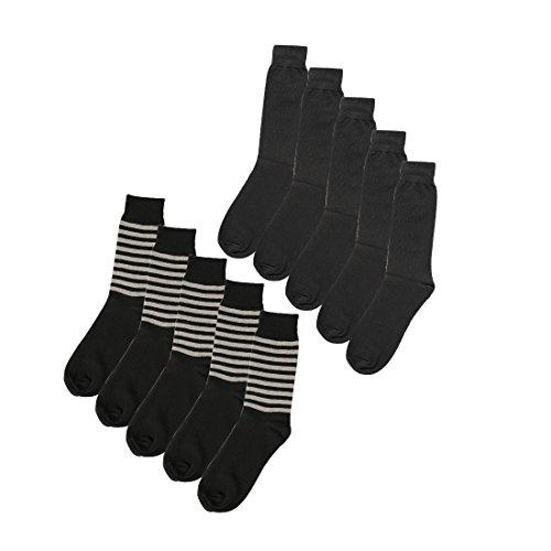sourcingmap Herren Luxus Baumwolle Muster langes Kleid gerippt sortierte Socken Größe 13-15 (Kleid Socken Gerippte)