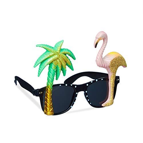 Relaxdays Partybrille Flamingo & Palme, goldener Glitzer, getönte Gläser, Strandparty, Hawaii Brille, Kunststoff, bunt