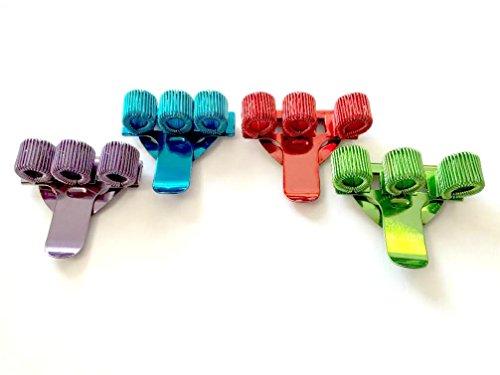 Coloured Treble Triple Pen Holder Pocket Pen clip, confezione da 4, 1x rosso, 1x blu, 1x verde e 1x viola ideale per infermieri, medici