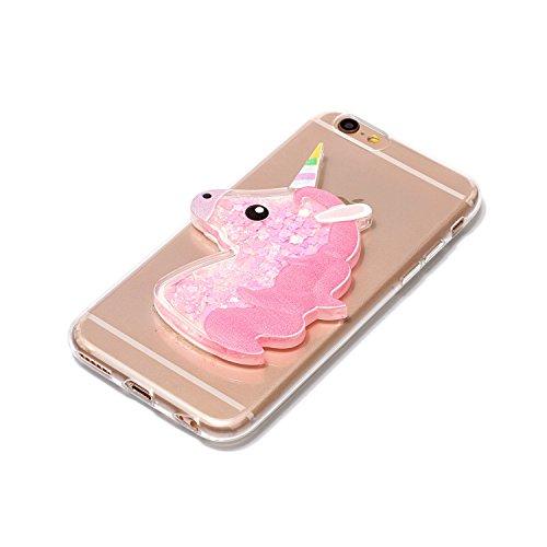 Cover iPhone 6 Plus / 6S Plus,ToDo Custodia Silicone TPU per iPhone 6 Plus / 6S Plus 3D Quicksand Glitter Unicorno Liquido Sabbie Mobili Stella Shinny Scintillio Sparkle Bling Caso Posteriore Copertur Rosa