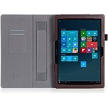 ISIN Funda para Tablet Serie Funda de Premium PU con Stand Función para Samsung Galaxy TabPro S 12 de 12,0 pulgadas WIFI LTE SM-W700 W703 W708 2 en 1 Convertible Windows 10 Tablet PC con Velcro Correa para la Mano y Ranuras para Tarjetas (Marrón)