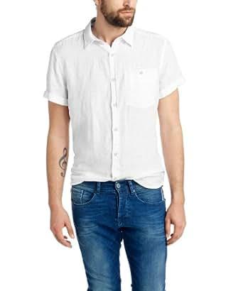 edc by ESPRIT Herren Slim Fit Freizeithemd aus Leinen 054CC2F019, Gr. Small, Weiß (WHITE 100)