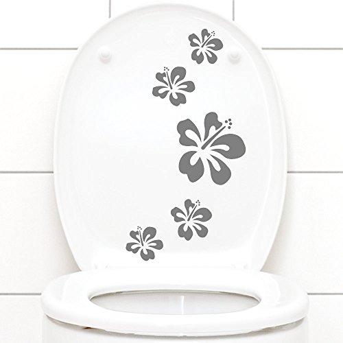 Grandora W916 Wandtattoo Hibiskusblüten 5er Set I mittelgrau I Kinderzimmer Bad Blüten Blumen Hibiskus Aufkleber Wandaufkleber Wandsticker