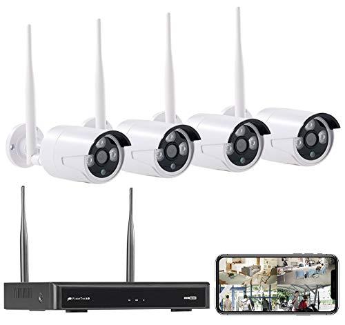 VisorTech Überwachungskamera: Funk-Überwachungssystem, HDD-Rekorder & 4 IP-Kameras, Plug & Play, App (Kamera Set)