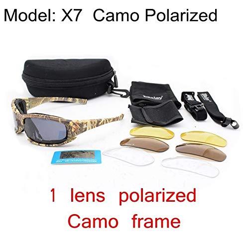 Polarisierte Armee-Schutzbrillen-Militärsonnenbrille 4 Objektiv-Installationssatz-Wüsten-taktische Gläser der Männer Sportbrillen-Radfahrengläser ( Color : X7 Polarized CAMO , Lenses Color : Multi )